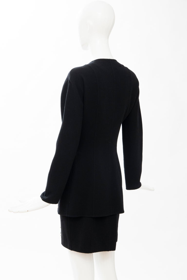 Geoffrey Beene Black Wool Crepe Embroidered Sequins Dress Ensemble, Circa 1990's For Sale 7