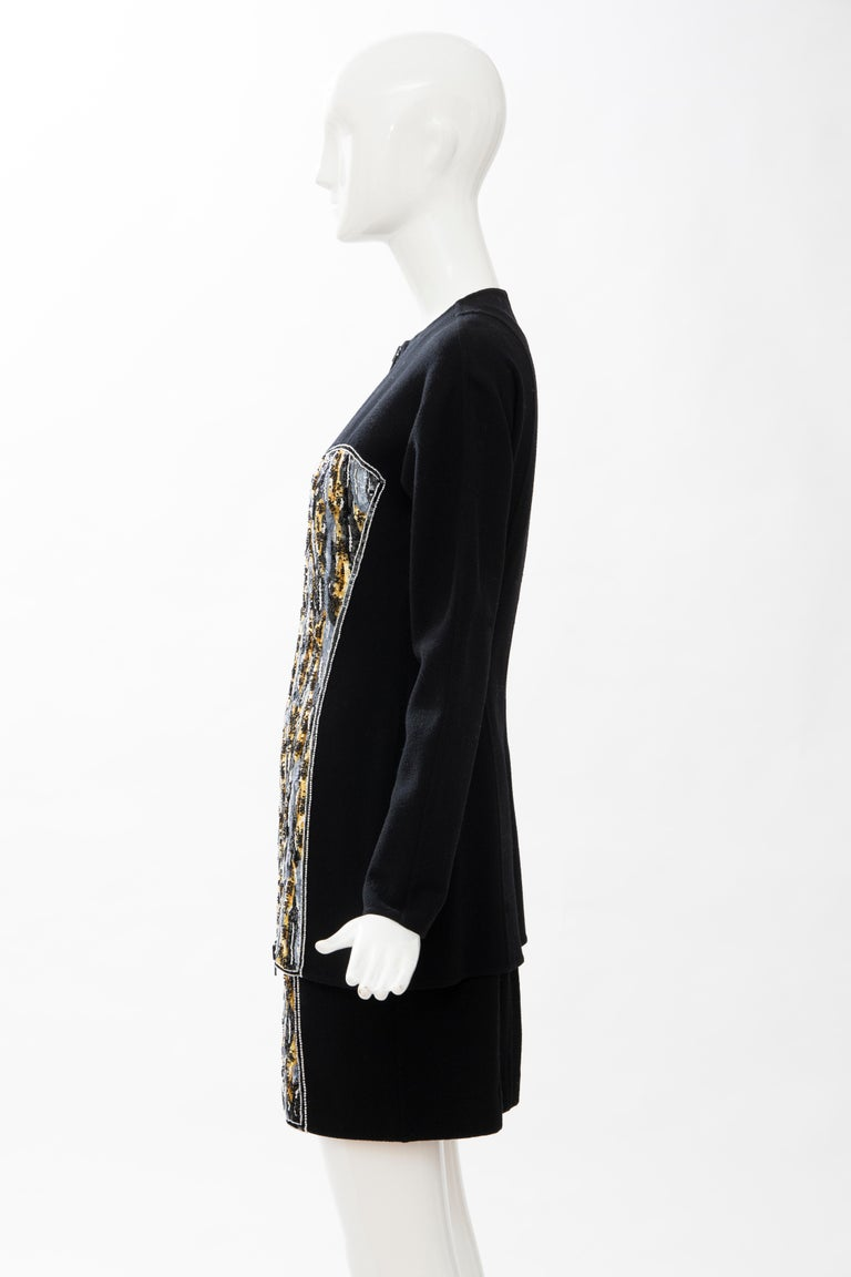 Geoffrey Beene Black Wool Crepe Embroidered Sequins Dress Ensemble, Circa 1990's For Sale 8