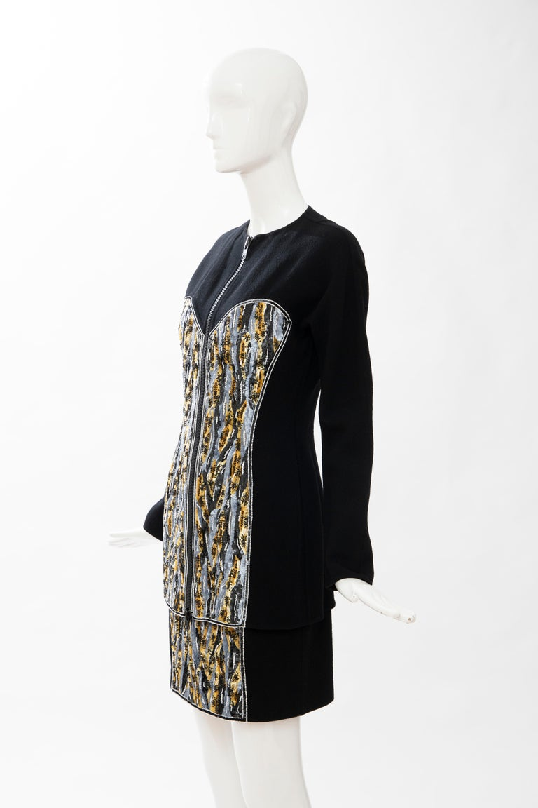 Geoffrey Beene Black Wool Crepe Embroidered Sequins Dress Ensemble, Circa 1990's For Sale 9
