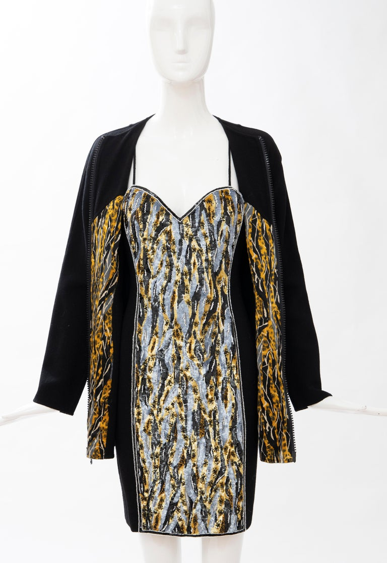 Geoffrey Beene Black Wool Crepe Embroidered Sequins Dress Ensemble, Circa 1990's For Sale 10