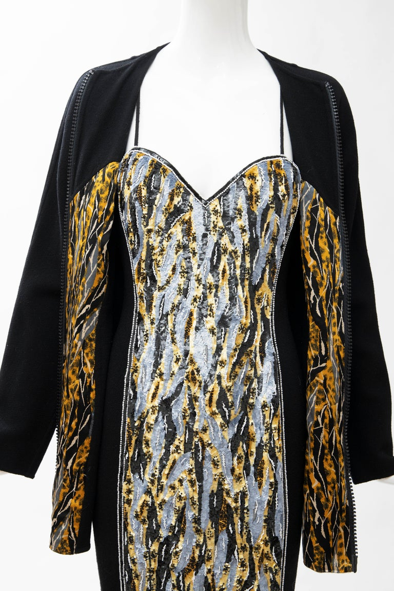 Geoffrey Beene Black Wool Crepe Embroidered Sequins Dress Ensemble, Circa 1990's For Sale 11
