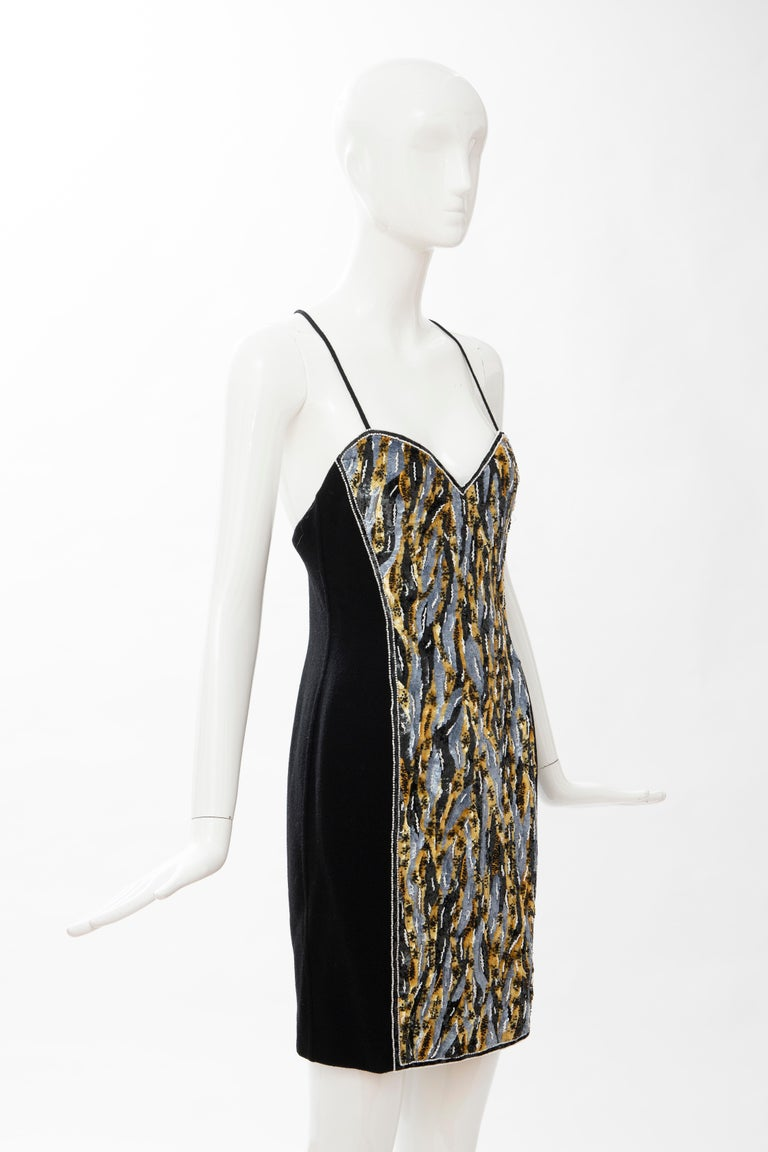 Geoffrey Beene Black Wool Crepe Embroidered Sequins Dress Ensemble, Circa 1990's For Sale 12