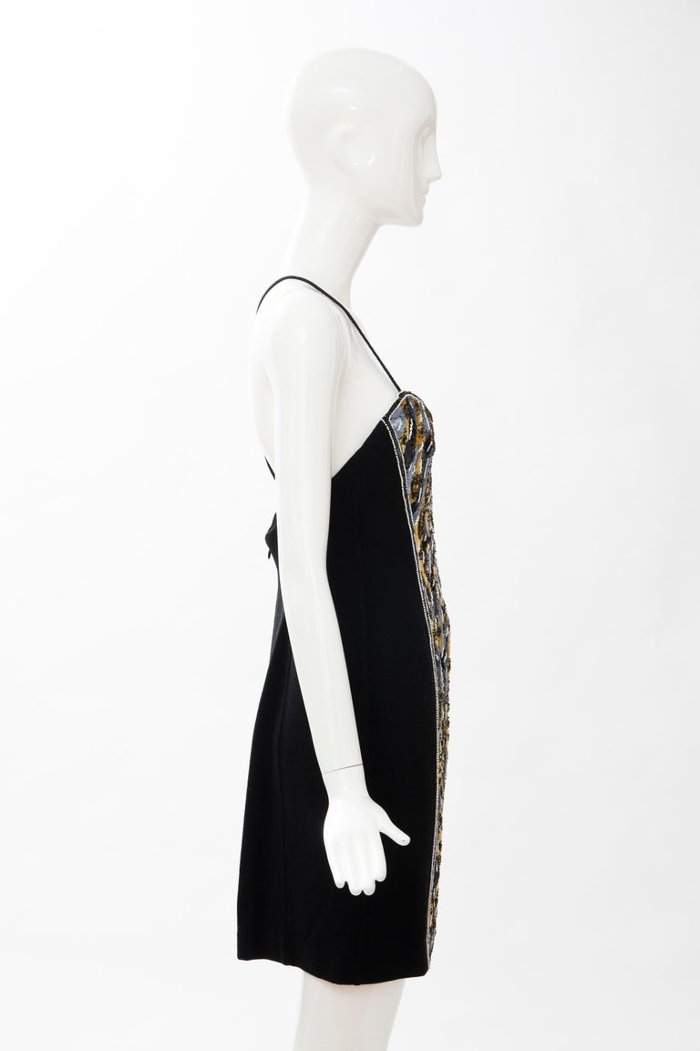 Geoffrey Beene Black Wool Crepe Embroidered Sequins Dress Ensemble, Circa 1990's For Sale 13
