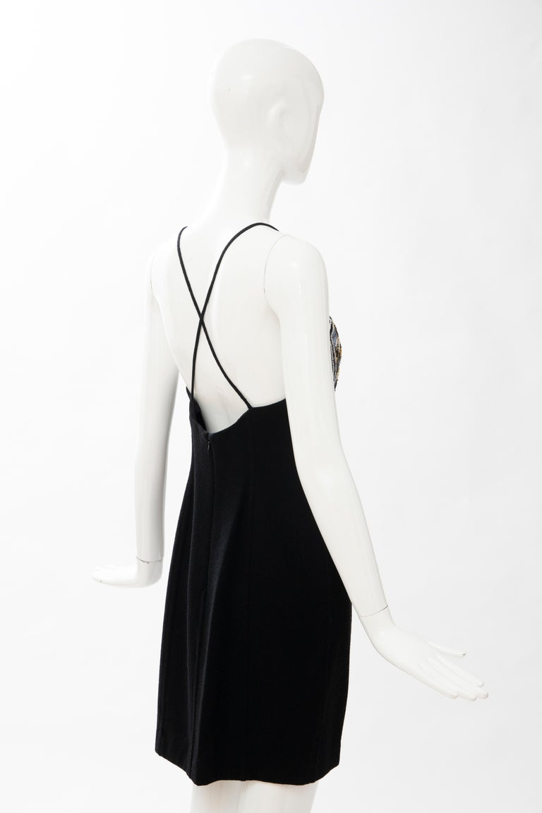 Geoffrey Beene Black Wool Crepe Embroidered Sequins Dress Ensemble, Circa 1990's For Sale 14