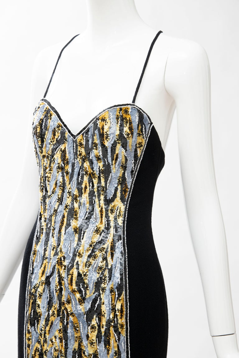 Geoffrey Beene Black Wool Crepe Embroidered Sequins Dress Ensemble, Circa 1990's For Sale 15