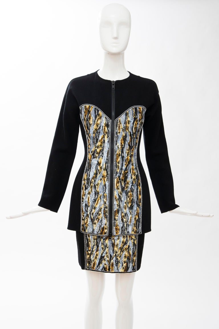 Geoffrey Beene Black Wool Crepe Embroidered Sequins Dress Ensemble, Circa 1990's In Excellent Condition For Sale In Cincinnati, OH