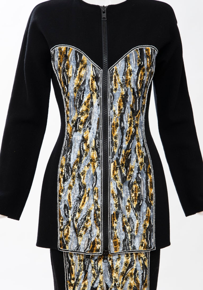 Geoffrey Beene Black Wool Crepe Embroidered Sequins Dress Ensemble, Circa 1990's For Sale 1
