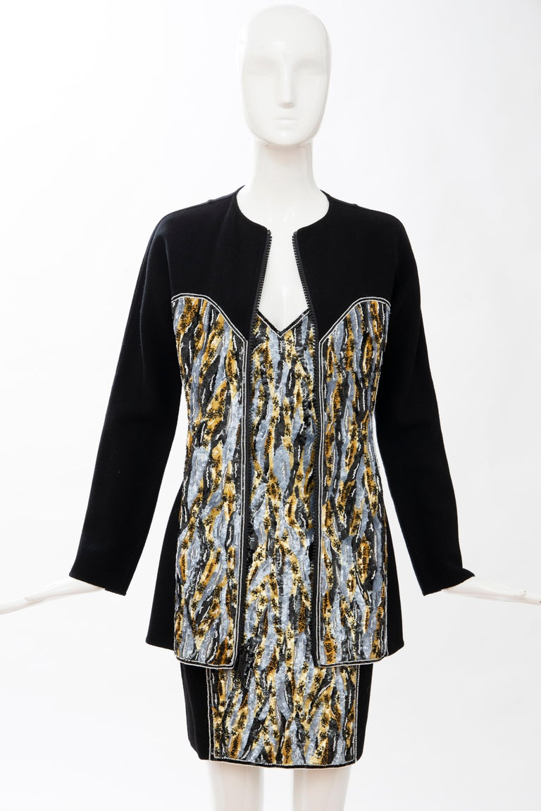 Geoffrey Beene Black Wool Crepe Embroidered Sequins Dress Ensemble, Circa 1990's For Sale 2