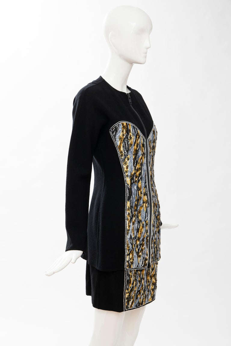 Geoffrey Beene Black Wool Crepe Embroidered Sequins Dress Ensemble, Circa 1990's For Sale 3
