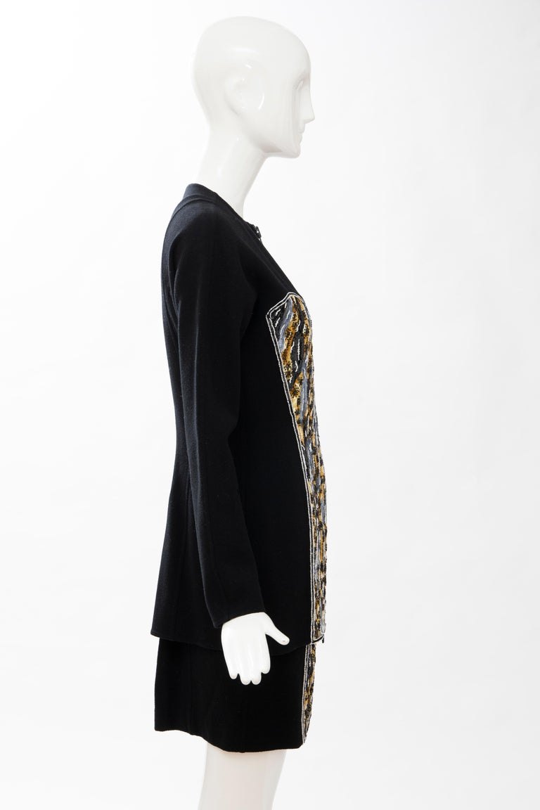 Geoffrey Beene Black Wool Crepe Embroidered Sequins Dress Ensemble, Circa 1990's For Sale 4