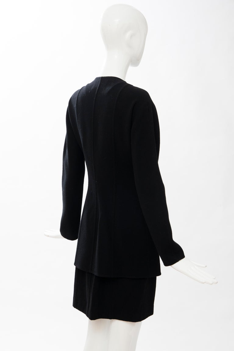 Geoffrey Beene Black Wool Crepe Embroidered Sequins Dress Ensemble, Circa 1990's For Sale 5