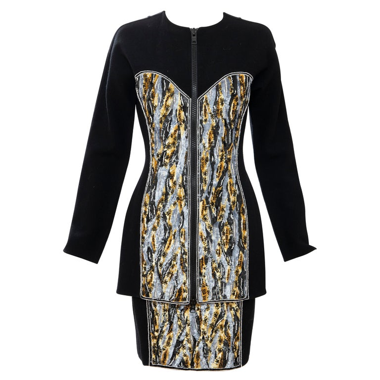 Geoffrey Beene Black Wool Crepe Embroidered Sequins Dress Ensemble, Circa 1990's For Sale