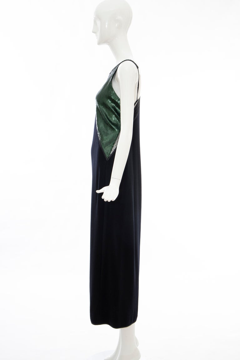 Geoffrey Beene Black Wool Jersey Embroidered Sequins Evening Dress, Fall 1991 For Sale 6
