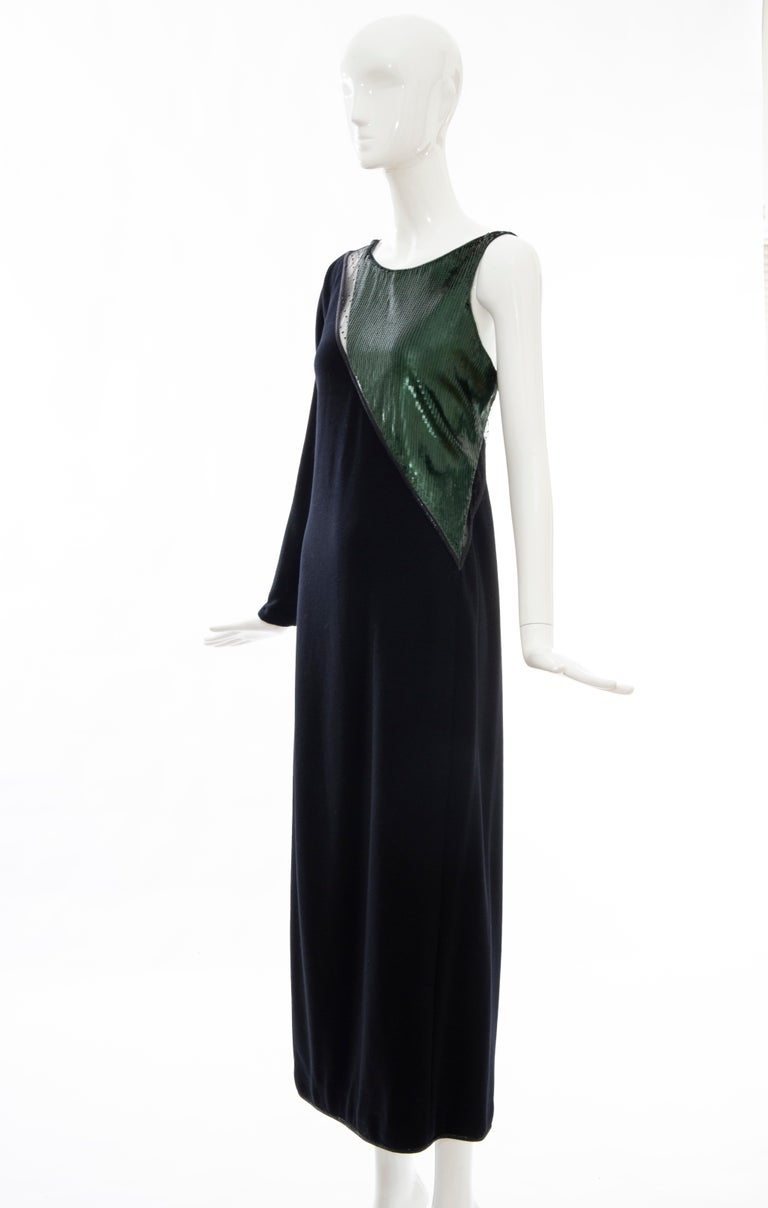 Geoffrey Beene Black Wool Jersey Embroidered Sequins Evening Dress, Fall 1991 For Sale 7