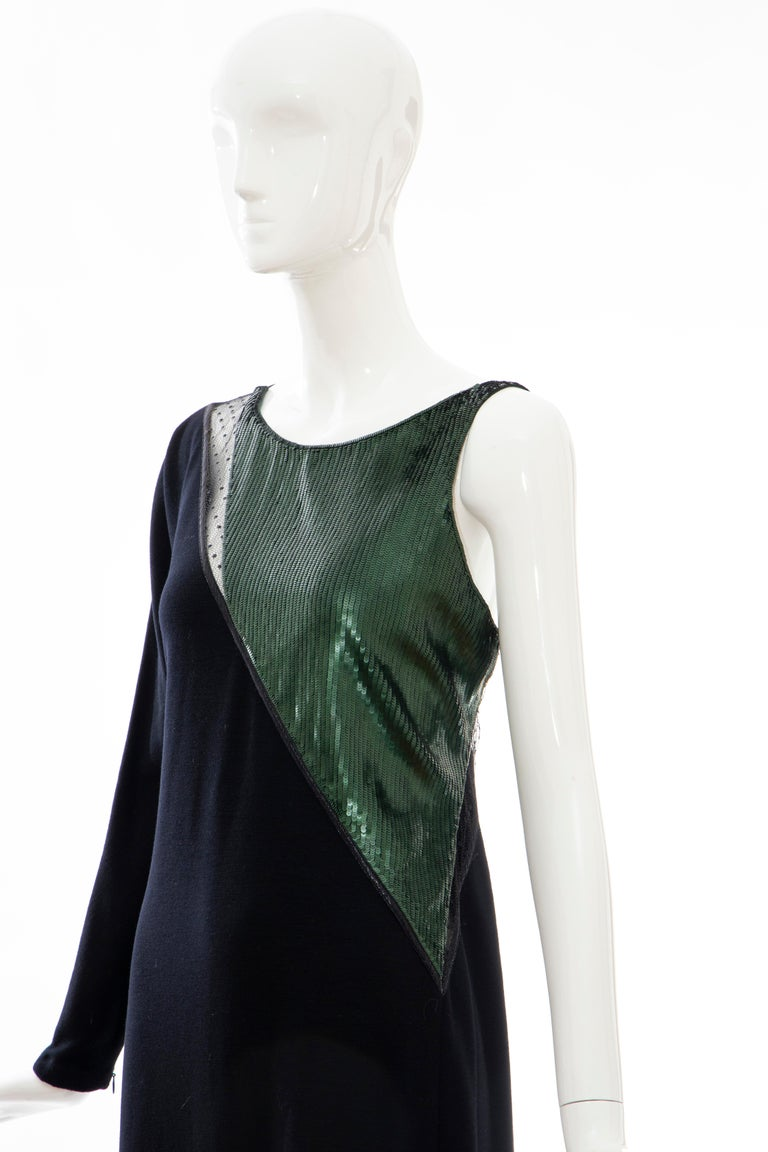 Geoffrey Beene Black Wool Jersey Embroidered Sequins Evening Dress, Fall 1991 For Sale 8