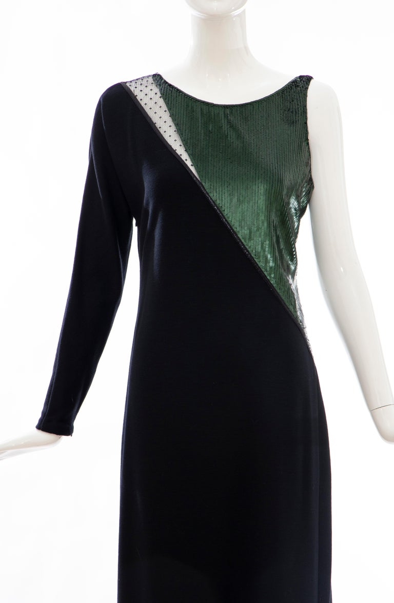 Geoffrey Beene Black Wool Jersey Embroidered Sequins Evening Dress, Fall 1991 In Excellent Condition For Sale In Cincinnati, OH