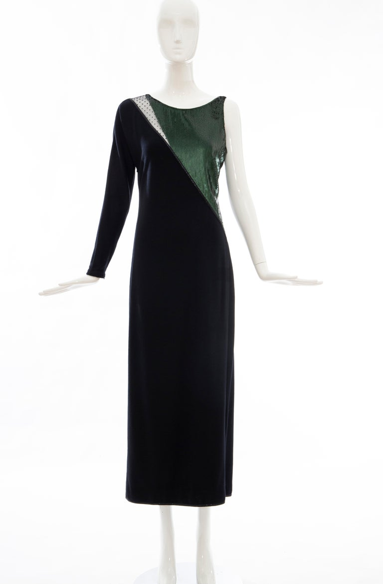 Women's or Men's Geoffrey Beene Black Wool Jersey Embroidered Sequins Evening Dress, Fall 1991 For Sale