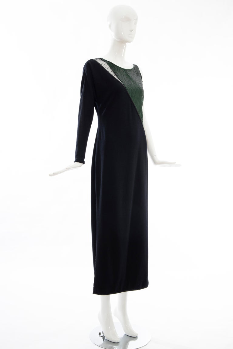 Geoffrey Beene Black Wool Jersey Embroidered Sequins Evening Dress, Fall 1991 For Sale 1