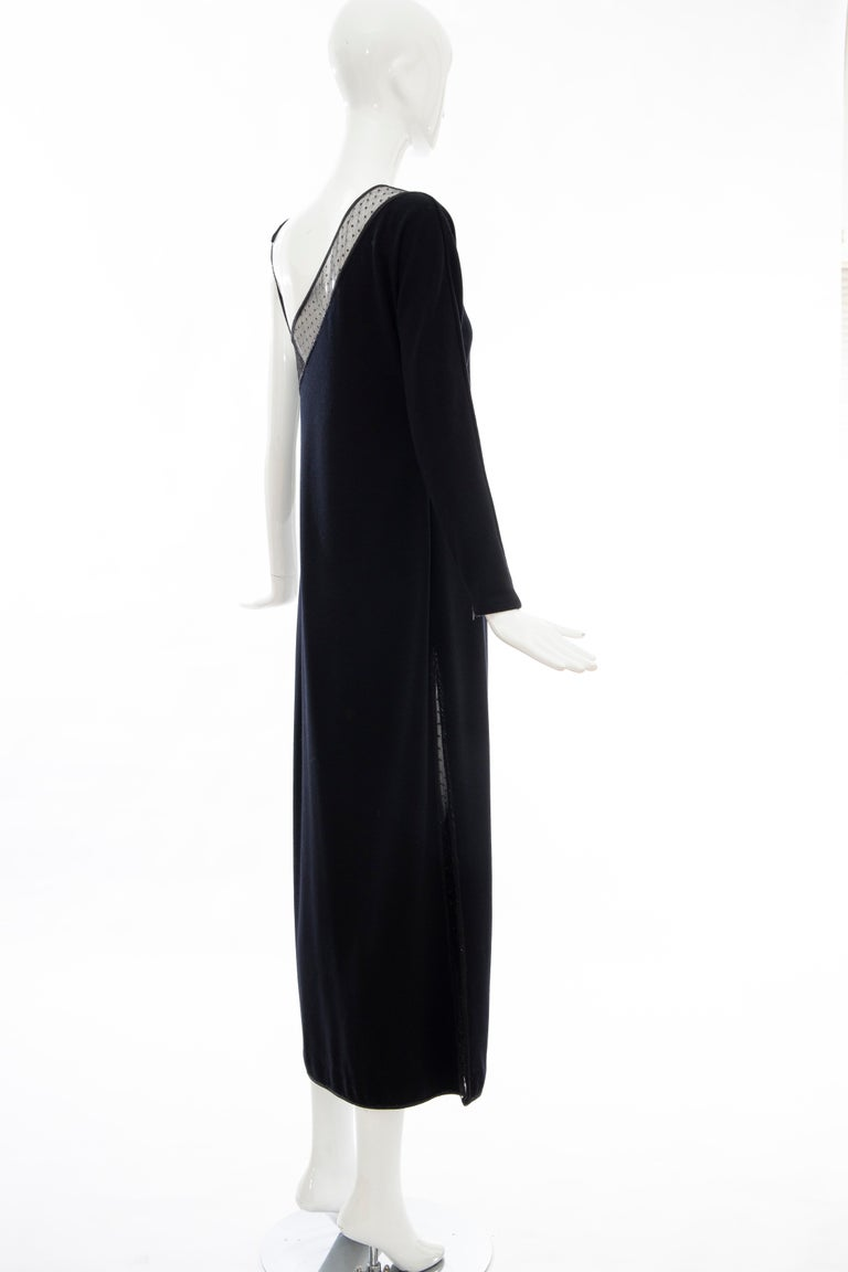 Geoffrey Beene Black Wool Jersey Embroidered Sequins Evening Dress, Fall 1991 For Sale 3
