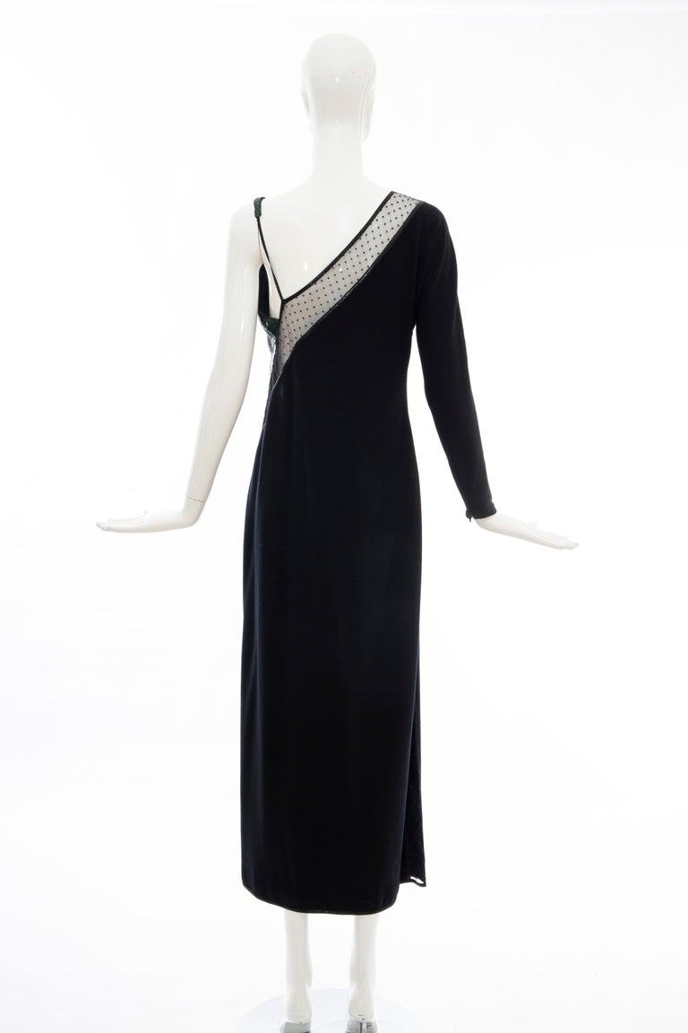 Geoffrey Beene Black Wool Jersey Embroidered Sequins Evening Dress, Fall 1991 For Sale 4