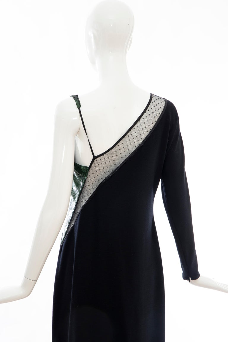 Geoffrey Beene Black Wool Jersey Embroidered Sequins Evening Dress, Fall 1991 For Sale 5