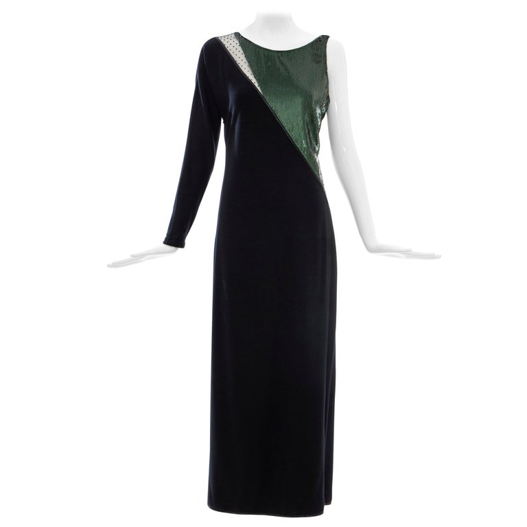 Geoffrey Beene Black Wool Jersey Embroidered Sequins Evening Dress, Fall 1991 For Sale