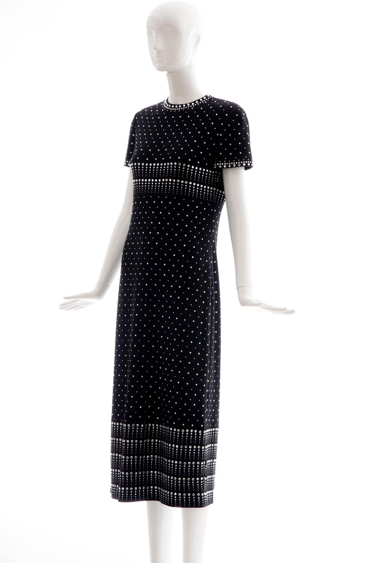 Geoffrey Beene Black Wool Knit Evening Dress Appliquéd Rhinestones, Fall 1966 For Sale 7