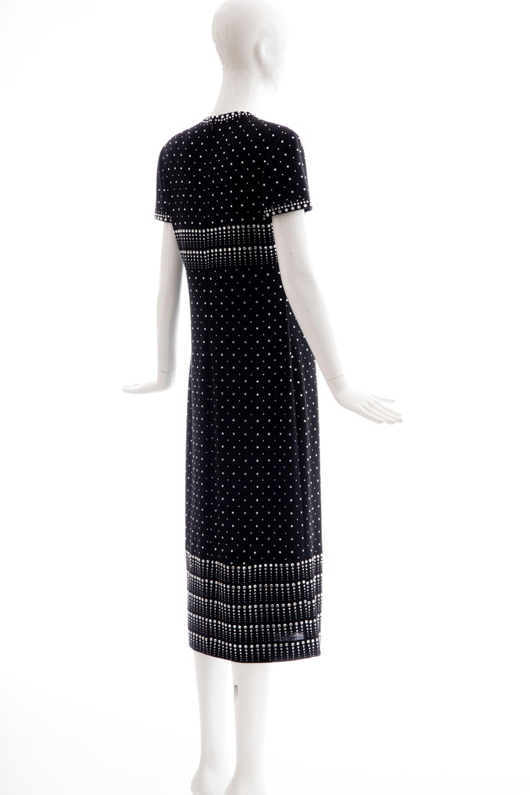 Geoffrey Beene Black Wool Knit Evening Dress Appliquéd Rhinestones, Fall 1966 For Sale 2
