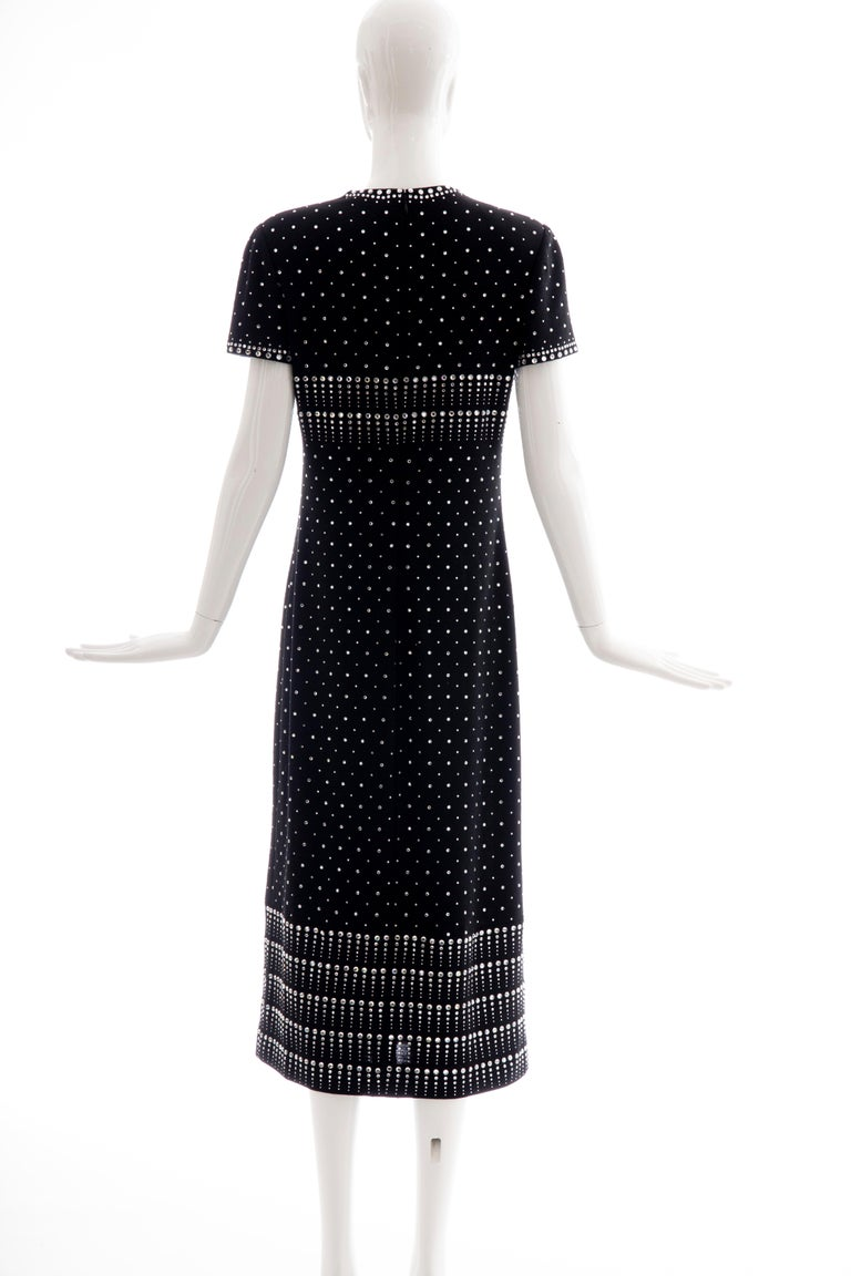 Geoffrey Beene Black Wool Knit Evening Dress Appliquéd Rhinestones, Fall 1966 For Sale 3