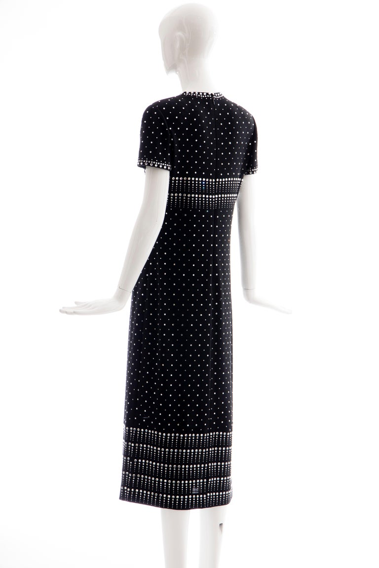 Geoffrey Beene Black Wool Knit Evening Dress Appliquéd Rhinestones, Fall 1966 For Sale 4