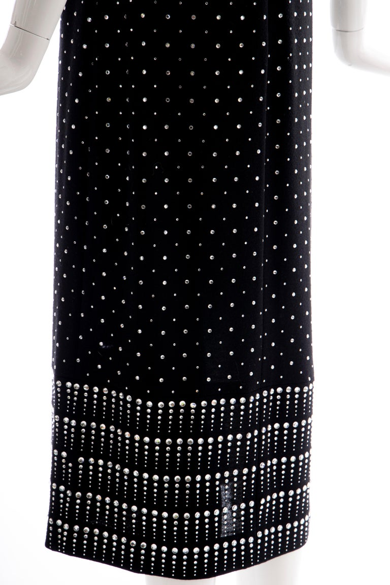 Geoffrey Beene Black Wool Knit Evening Dress Appliquéd Rhinestones, Fall 1966 For Sale 5
