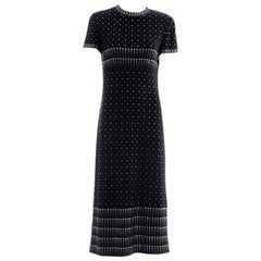 Geoffrey Beene Black Wool Knit Evening Dress Appliquéd Rhinestones, Fall 1966
