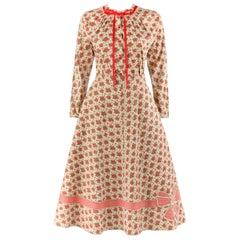 GEOFFREY BEENE c.1970's 2pc Beige Floral Bouquet Button Up A-Line Skirt Suit Set