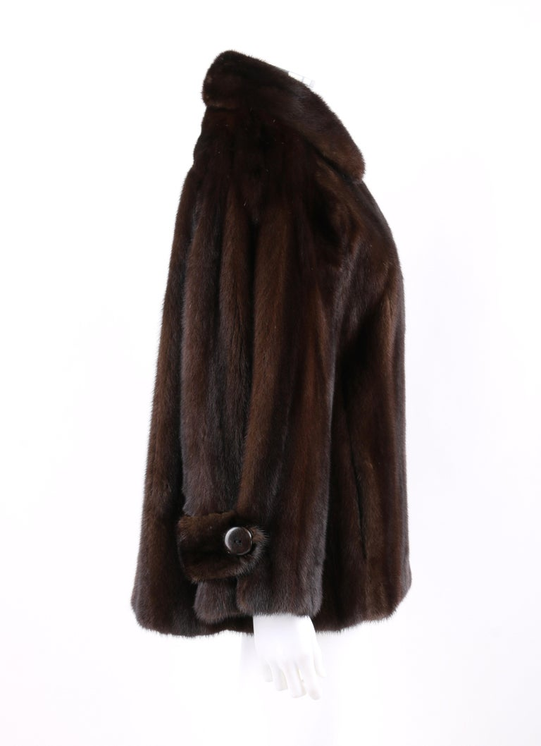 Black GEOFFREY BEENE c.1980's Dark Brown Genuine Mink Fur Jacket Coat For Sale