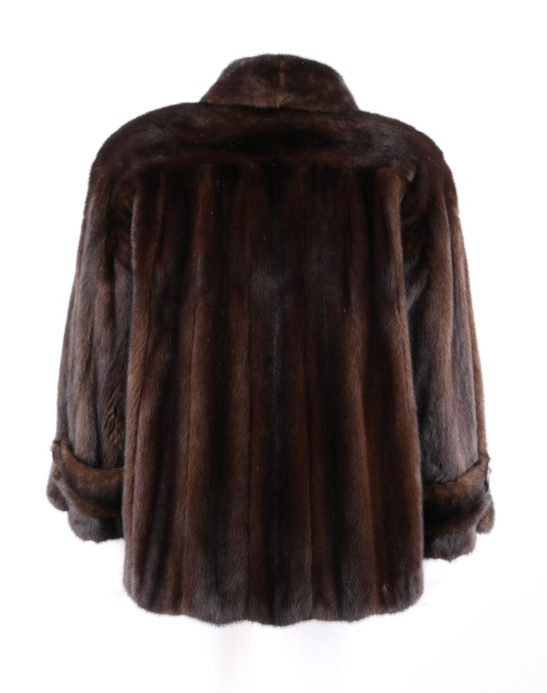 GEOFFREY BEENE c.1980's Dark Brown Genuine Mink Fur Jacket Coat In Good Condition For Sale In Thiensville, WI