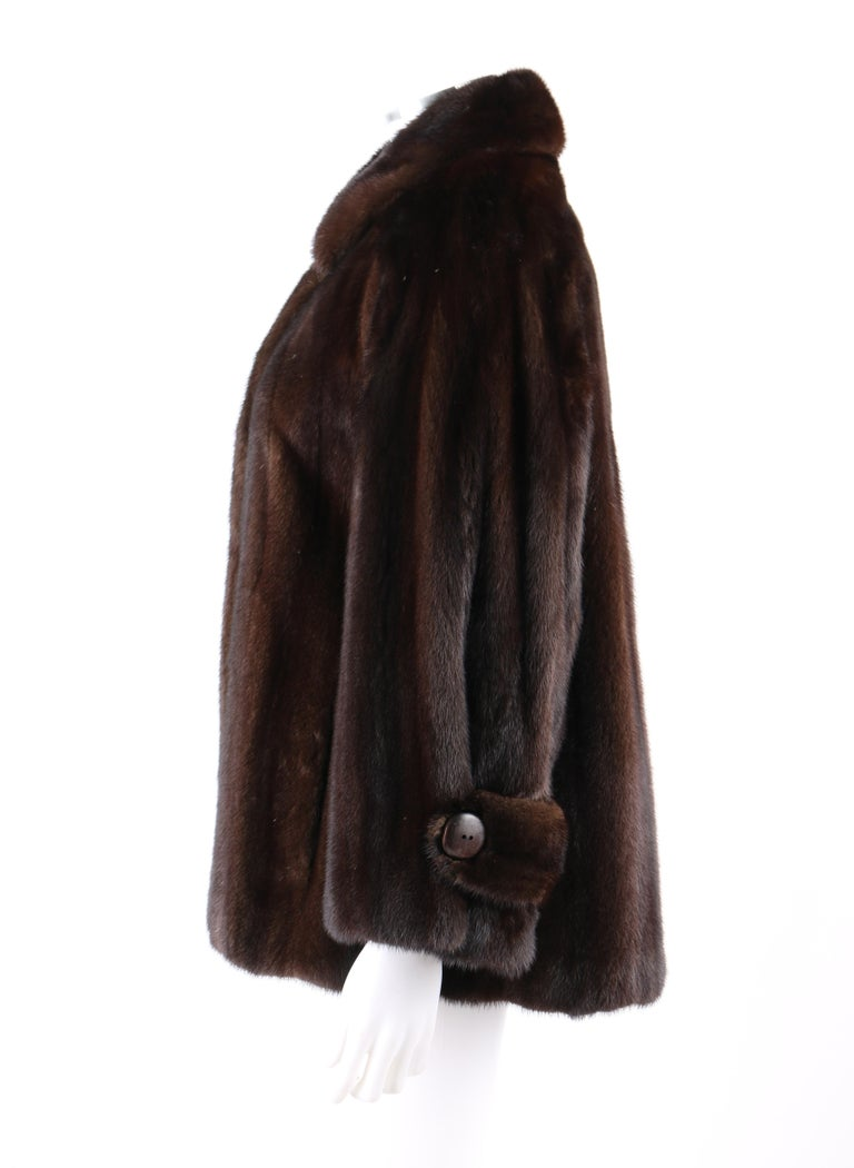 Women's GEOFFREY BEENE c.1980's Dark Brown Genuine Mink Fur Jacket Coat For Sale