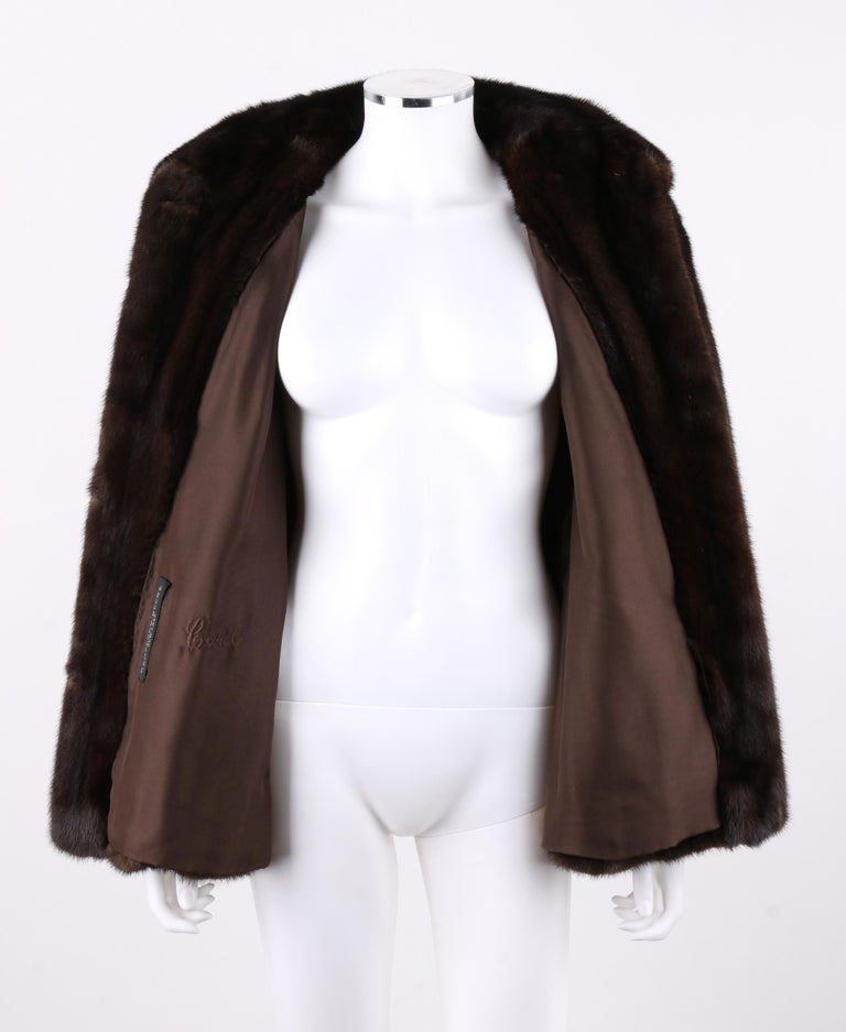 GEOFFREY BEENE c.1980's Dark Brown Genuine Mink Fur Jacket Coat For Sale 1