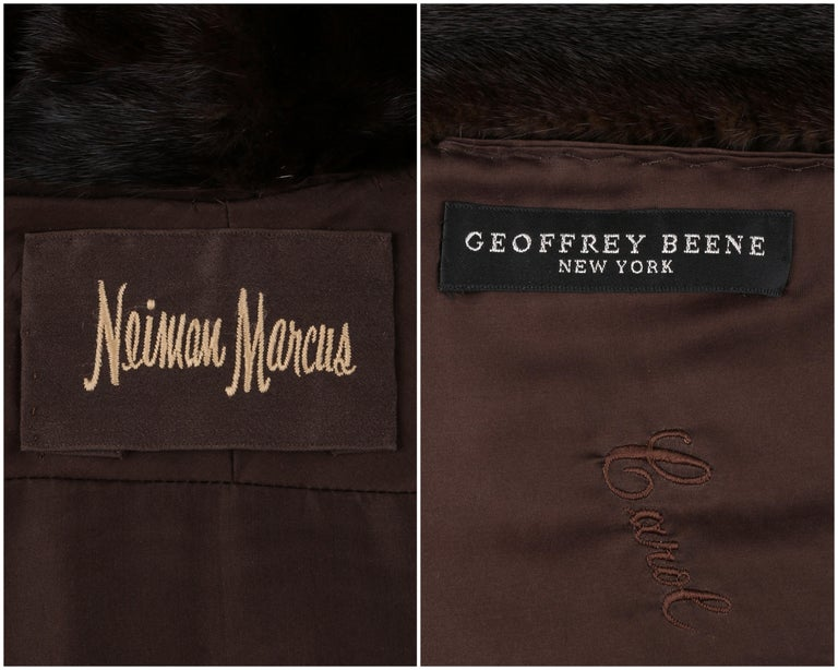 GEOFFREY BEENE c.1980's Dark Brown Genuine Mink Fur Jacket Coat For Sale 2