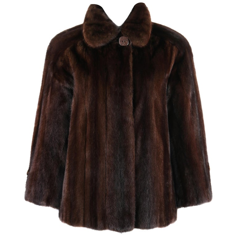 GEOFFREY BEENE c.1980's Dark Brown Genuine Mink Fur Jacket Coat For Sale
