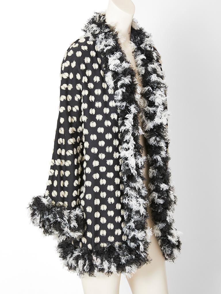 Black Geoffrey Beene Chenille Coat For Sale