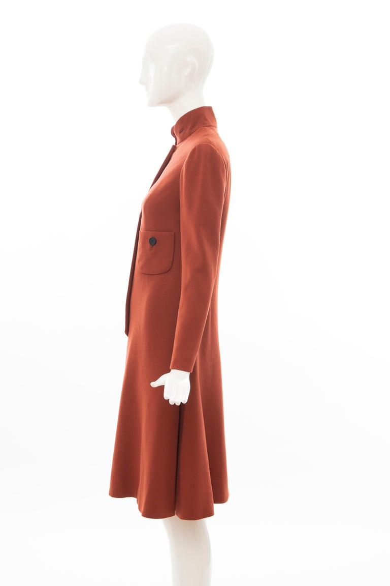 Geoffrey Beene Cinnamon Wool Crepe Princess Cut Dress, Circa: 1960's For Sale 5