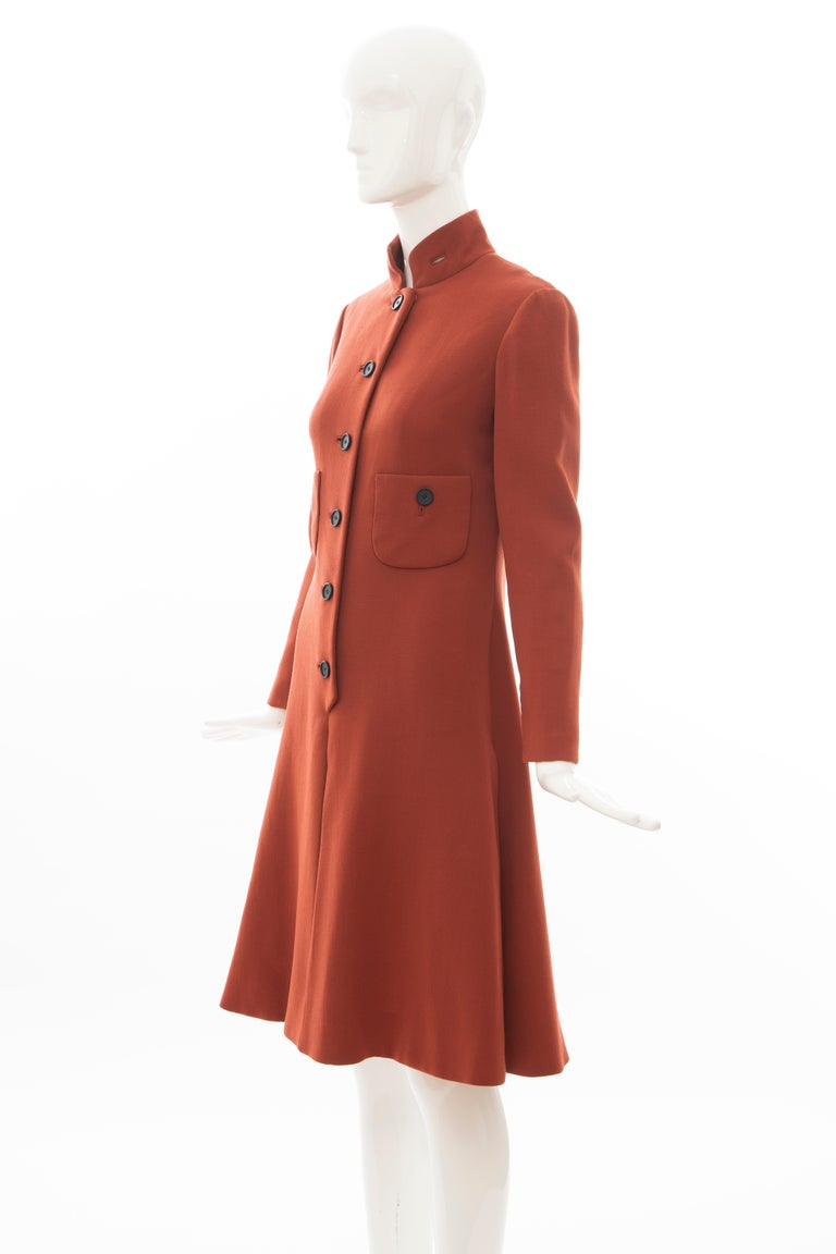 Geoffrey Beene Cinnamon Wool Crepe Princess Cut Dress, Circa: 1960's For Sale 6