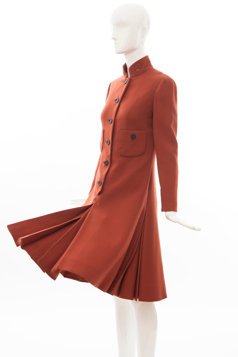 Geoffrey Beene Cinnamon Wool Crepe Princess Cut Dress, Circa: 1960's For Sale 7