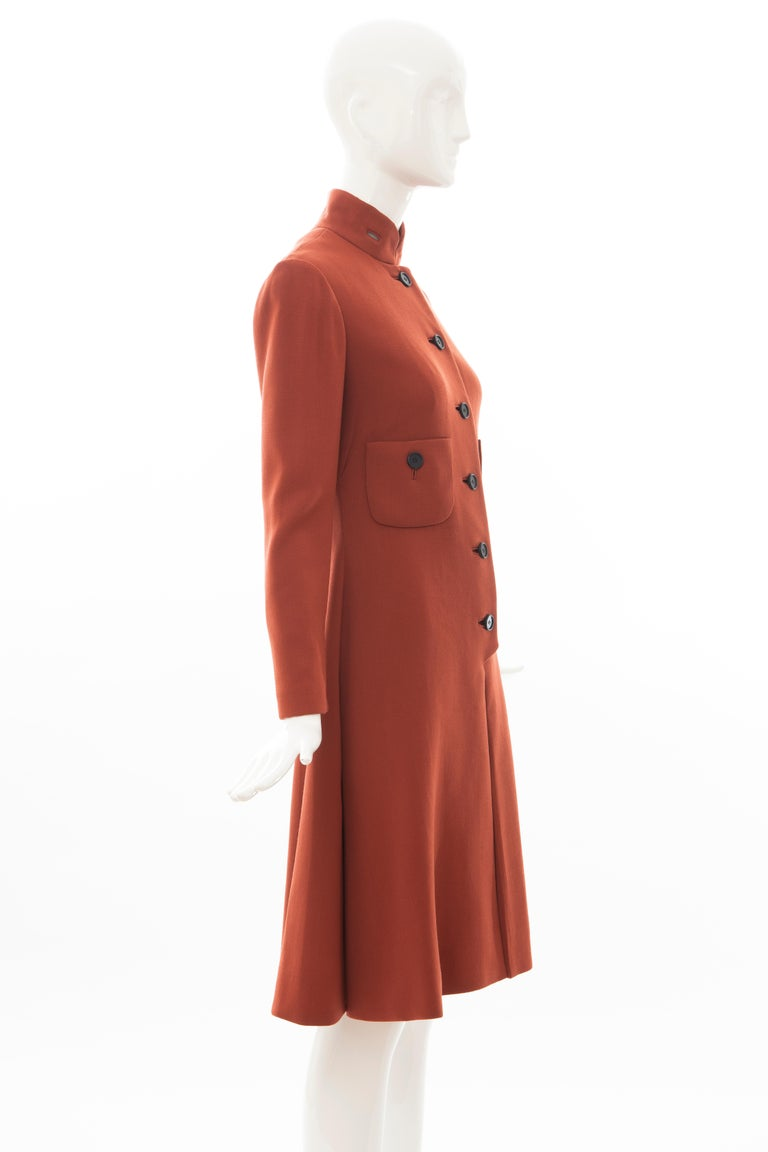 Geoffrey Beene Cinnamon Wool Crepe Princess Cut Dress, Circa: 1960's In Good Condition For Sale In Cincinnati, OH