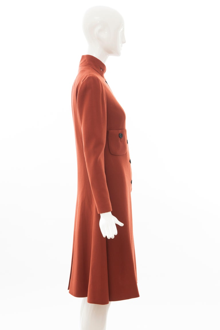 Women's Geoffrey Beene Cinnamon Wool Crepe Princess Cut Dress, Circa: 1960's For Sale