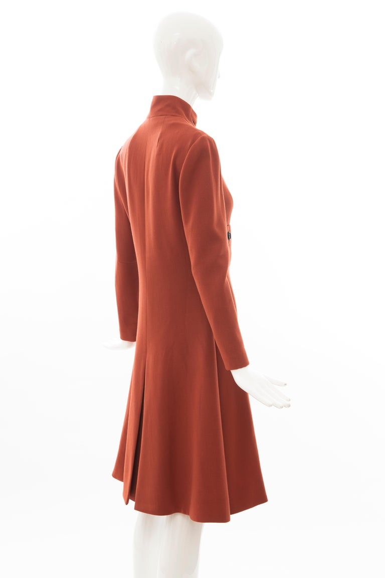 Geoffrey Beene Cinnamon Wool Crepe Princess Cut Dress, Circa: 1960's For Sale 1