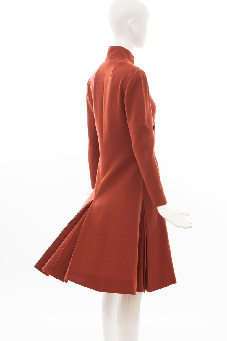 Geoffrey Beene Cinnamon Wool Crepe Princess Cut Dress, Circa: 1960's For Sale 2
