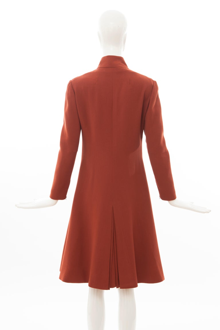Geoffrey Beene Cinnamon Wool Crepe Princess Cut Dress, Circa: 1960's For Sale 3