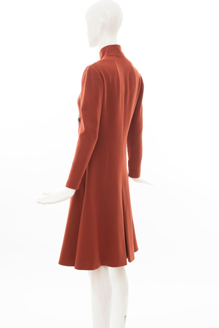 Geoffrey Beene Cinnamon Wool Crepe Princess Cut Dress, Circa: 1960's For Sale 4