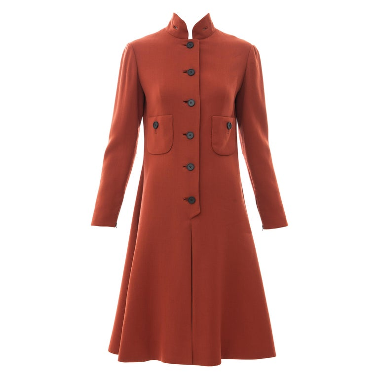 Geoffrey Beene Cinnamon Wool Crepe Princess Cut Dress, Circa: 1960's For Sale